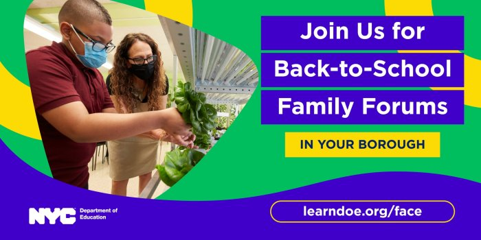 Banner for DOE's Back to School Family Forums