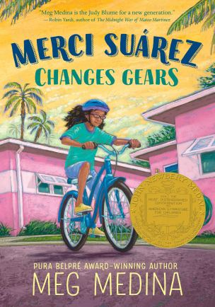 """Book cover for """"Merci Suarez Changes Gears,"""" by Meg Medina"""
