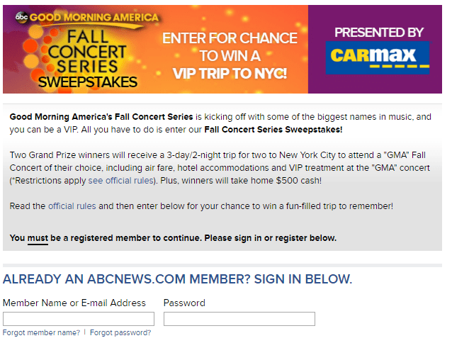 Good Morning America View Your Deal : Good morning america fall concert series sweepstakes