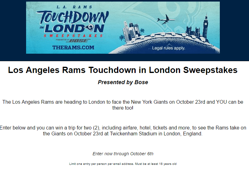 Los angeles sweepstakes