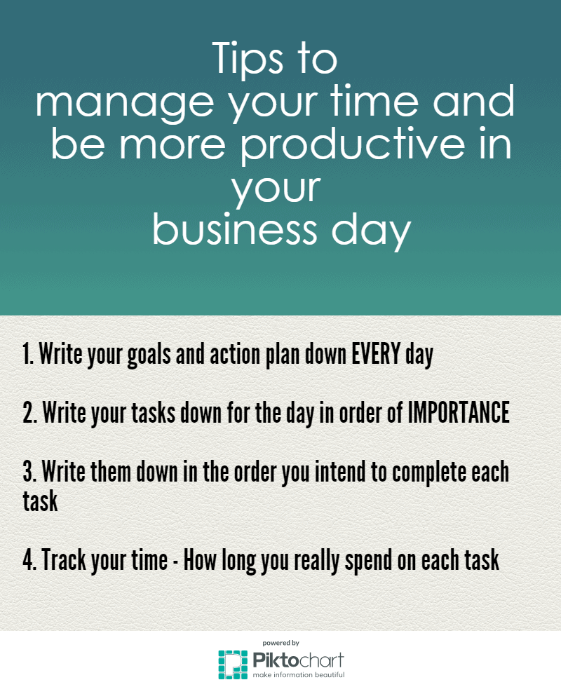 Tips to manage your time and be more productive in your business day