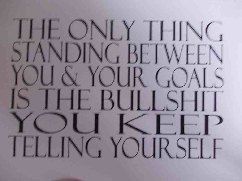 The only thing standing between you and your goals is the bullshit your keep telling yourself