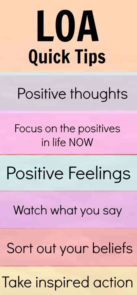 Quick LOA tips. A few ideas to quickly get the law of attraction working FOR you to attract what you want.