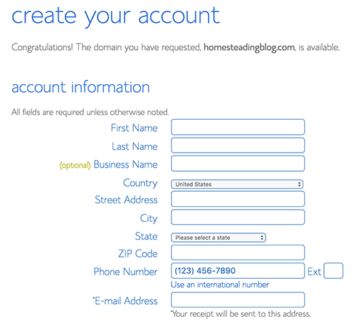 Create your account bluehost