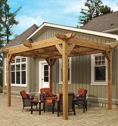 This pergola is the classic pergola design. It has four posts that give it  its base. However, it is right up against the house so it helps provide  shade to ...