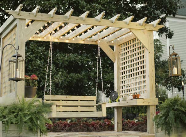 This Pergola Is A M Z I N G It Built As Stand Alone Structure There Shelving On The Inside Of