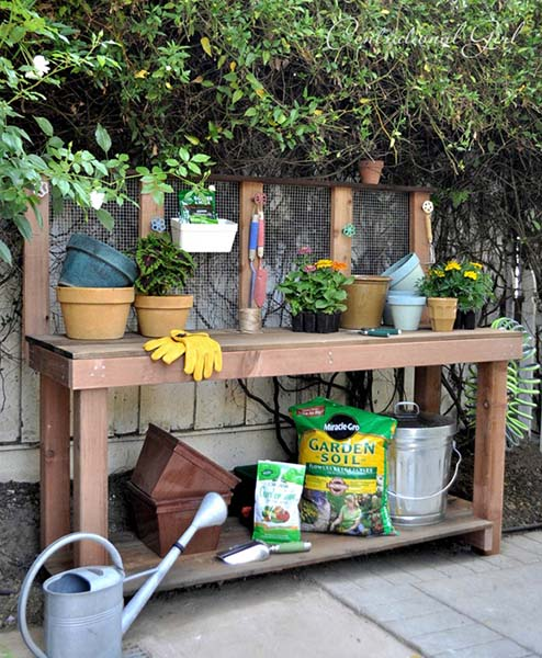 6. The Simple DIY Potting Bench