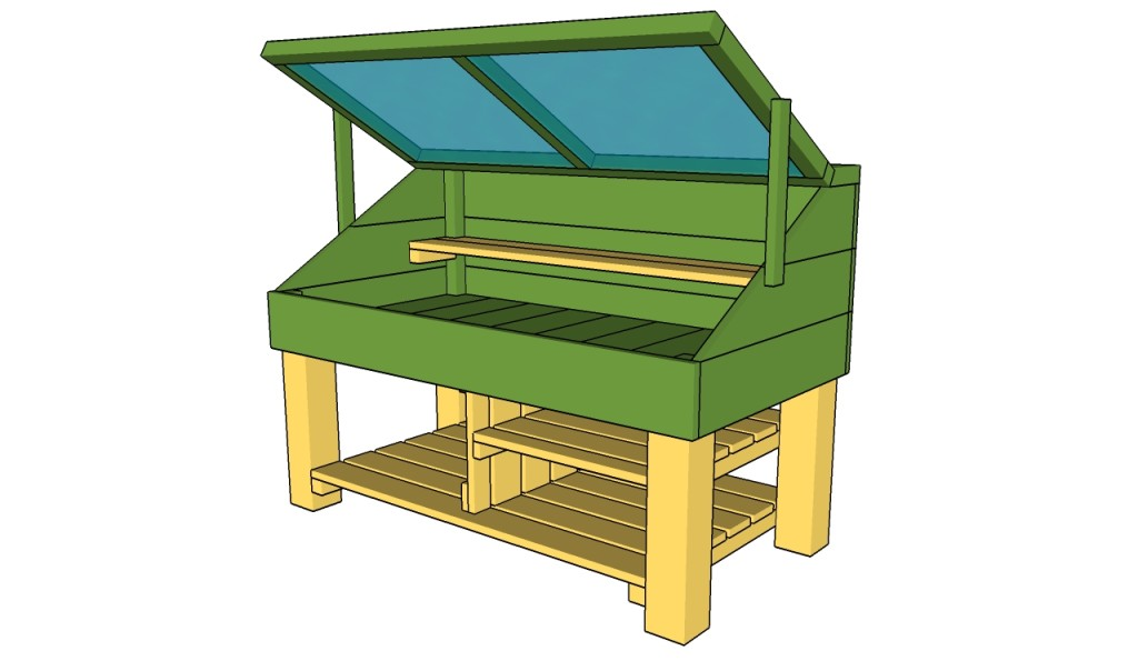 This Is A Really Cool Potting Bench Because It Looks Similar To A Cold  Frame Greenhouse. There Is A Door That Can Be Open And Closed When The Work  Bench Is ...