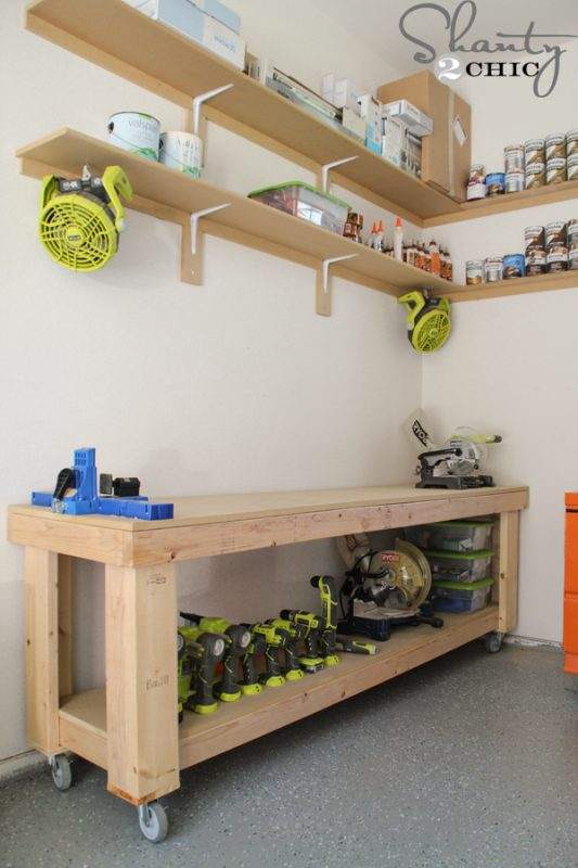 Wooden Workbench On Wheels