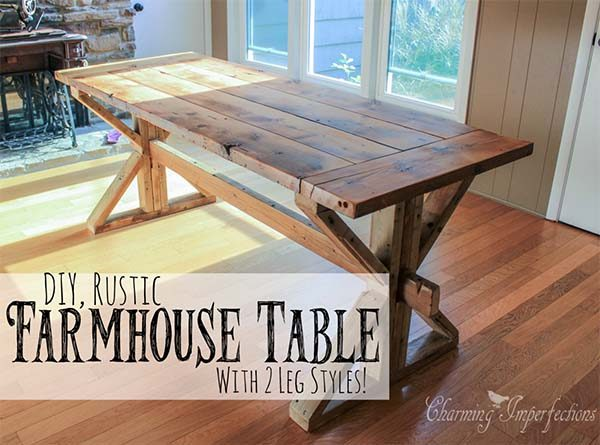 40 diy farmhouse table plans ideas for your dining room for Farmhouse table plans with x legs