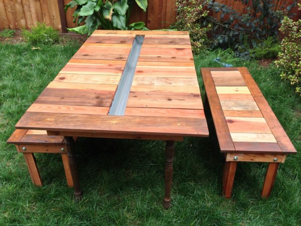 This Picnic Table Rocks! No Other Words Will Do It Justice Iu0027m Afraid. It  Is Made Out Of Reclaimed Wood And Has A Space In The Middle That Will Hold  Either ...
