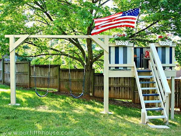 Swing Set And Play House Combo