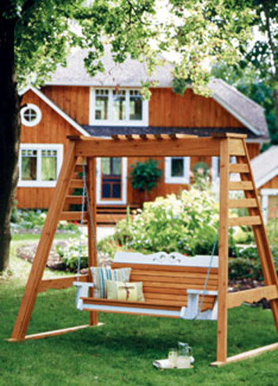 i love the design of this swing it is very different but still has a traditional style to it as well it is a freestanding a frame swing - Wood Porch Swing With Frame