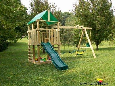 34 free diy swing set plans for your kids 39 fun backyard for Diy wood swing set designs