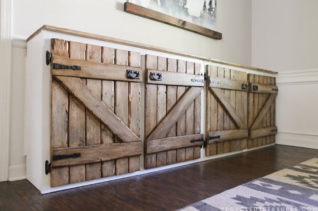 Upcycled Barn-Wood Cabinet - 21 DIY Kitchen Cabinets Ideas & Plans That Are Easy & Cheap To Build