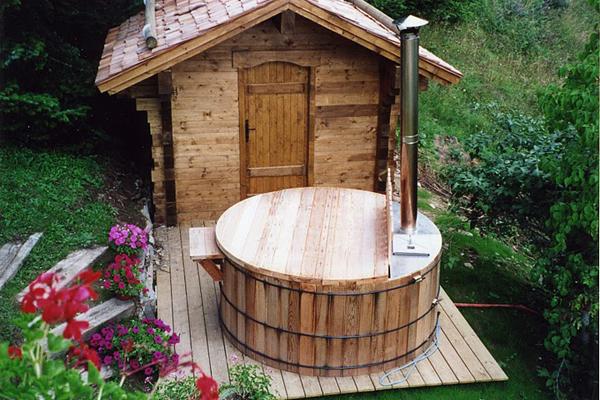 the sauna and wood burning hot tub combo