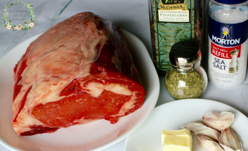 Ingredients needed to make the perfect prime rib roast