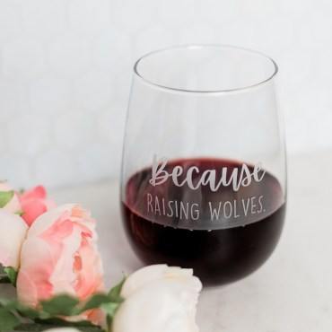 raising wolves wine glass