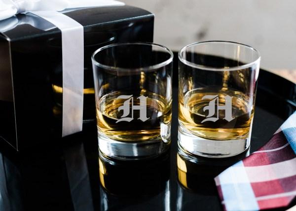 Monogrammed Whiskey Glasses Set Of 2