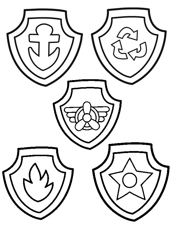 Paw Patrol Badge : patrol, badge, Coloring, Patrol, Badges