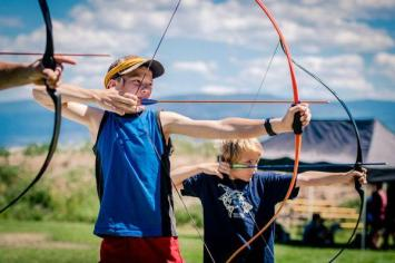 Archery boys camp group