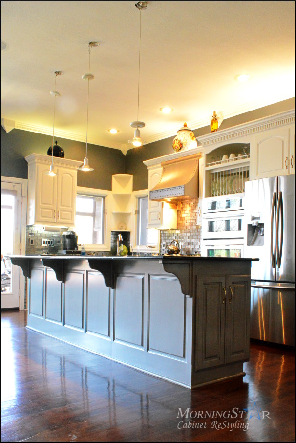 Two-tone Oak Kitchen Cabinets Portfolio - Kansas City Kitchen Cabinet Restyling And
