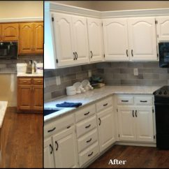 Refinishing Oak Kitchen Cabinets Best Brand For Appliances Cabinet Before And After
