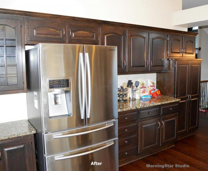 How to refinish oak cabinets before and after www for Oak kitchen cabinet refinishing