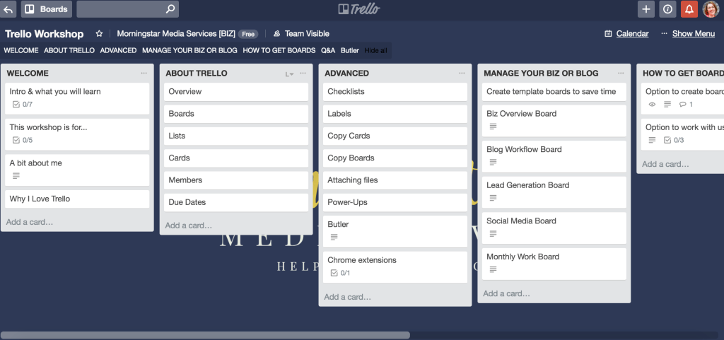 Visual of Trello - How to use Trello to Manage Your Business