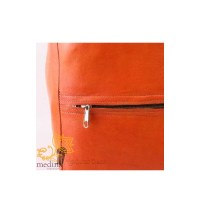 Buy leather Moroccan ottomans online: orange square pouffe