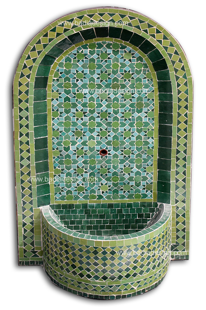 Mosaic Tile Arched Top Wall Fountain  Moroccan Tiles Los