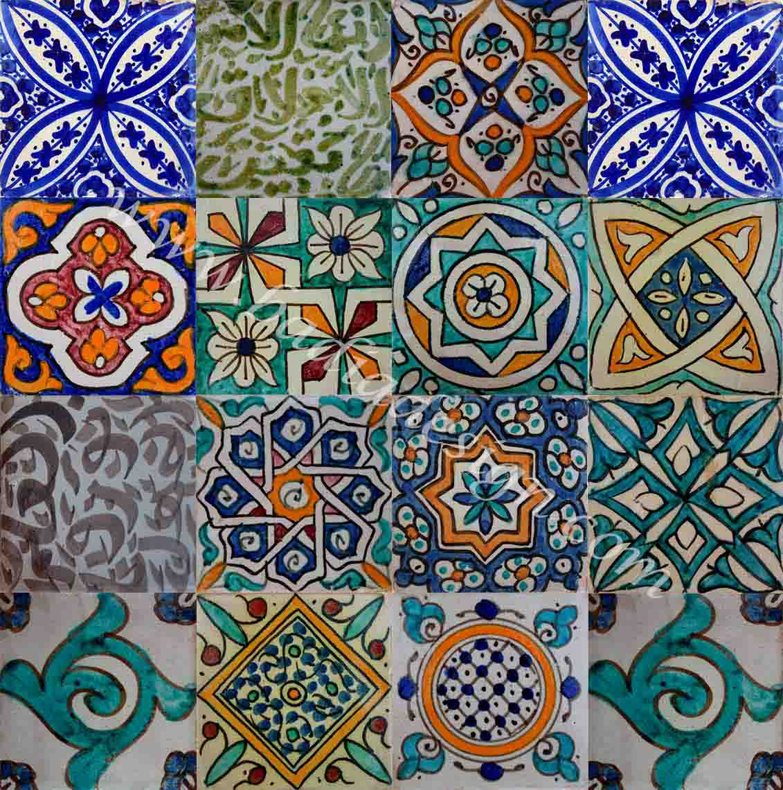 Moroccan Hand Painted Cement Tile  Moroccan Tiles Los Angeles