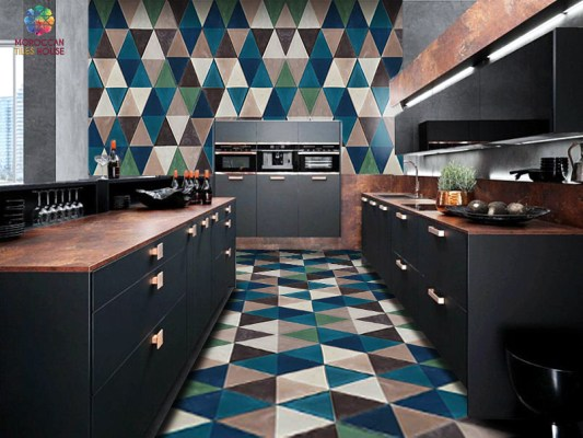 Moroccan tiles house : Tiles cocktail of colors