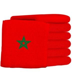 Rode zweetbandjes met een groene ster erop