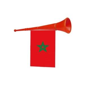 Een rode hoorn waar een marokkaanse vlag aan hangt