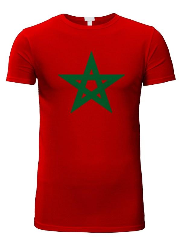 Rode tshirt met marokkaanse groene ster