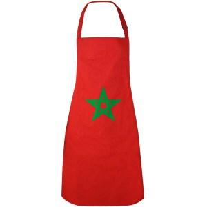 Een rode schort met een groen marokkaans ster erop