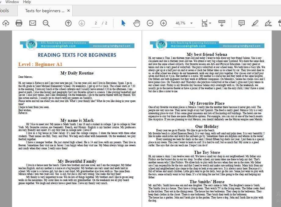 - Download Reading Texts For Beginners (A1) MoroccoEnglish