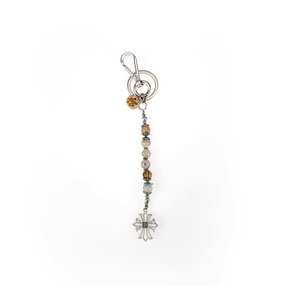 portachiavi accessori in metallo finitura nichel, pietra agata dura occhio di tigre, croce in metallo con finitura in argento antico