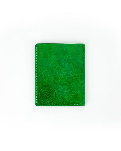 Portafoglio verticale in pelle tinta in capo verde