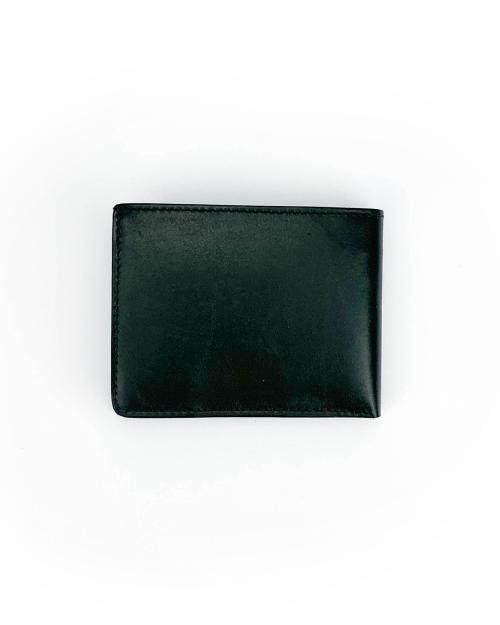 Portafoglio in vitello crust rifinito a mano classico color nero con pratiche tasche banconote, documenti, tessere e porta monete con automatico.