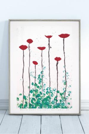 morogmor unik plakat kunst minimalistisk blomster valmuer og hvide nuancer.