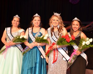 From left to right: Taryn Aime, Caroline Colton, Samantha Shepherd (Miss Moroni), Gabriela Rodriguez