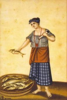 "Damian Domingo. ""Un India Pescadora de Manila"" (A Fish Vendor of Manila). Between 1827-1832. Colored gouache on rice paper. Approximately 20.5 cm. x 30.5 cm. Dr. Eleuterio Pascual Collection."