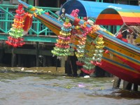 Longtail boat with protective decoration, Chao Phraya River, Bangkok