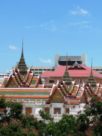 View of temple from Saphan Taksin BTS, Bangkok