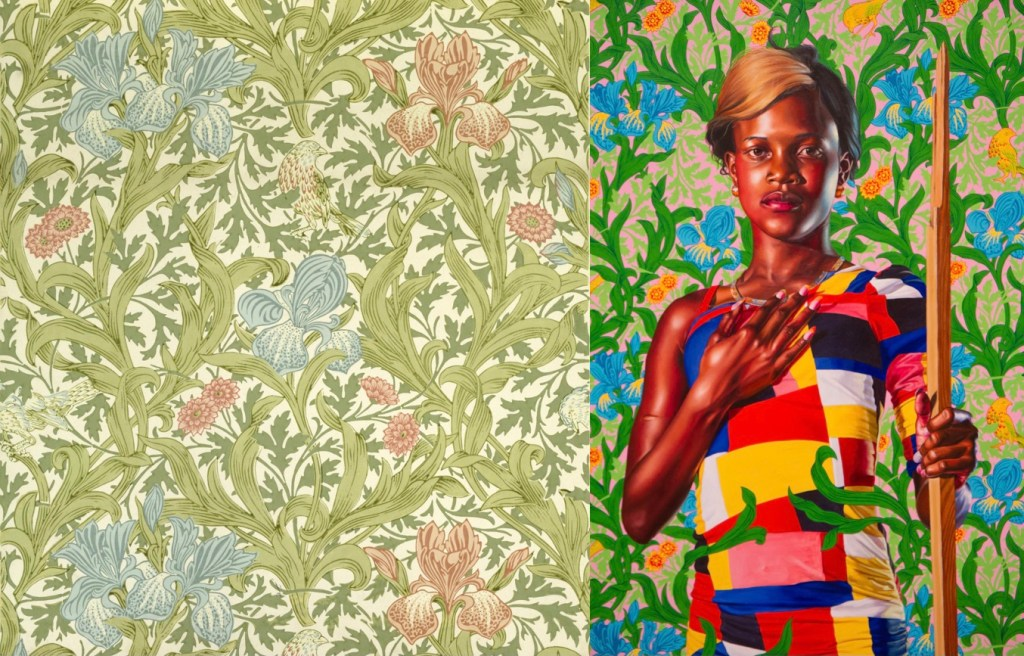 """A double image. On the left, J.H. Dearle's wallpaper """"Iris."""" On the right, Kehinde Wiley, detail of """"Saint John the Baptist in the Wilderness"""" a portrait of a black woman in a modern dress with Iris as its backdrop."""
