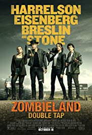 Zombieland: Double Tap movie poster, 4 main characters in a row with their weapons.