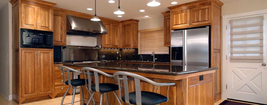 Custom hickory flush inset kitchen cabinetry