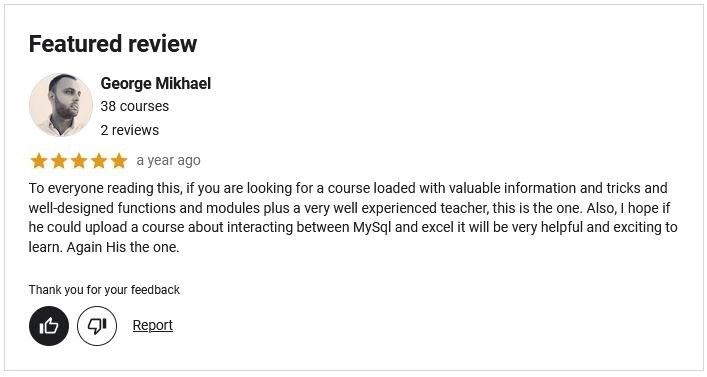 105 Excel VBA Functions Explain Course Testimonial